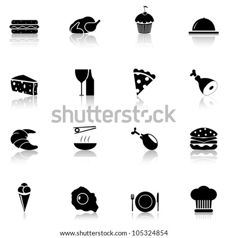 Food icon set black, Part 1 - stock vector