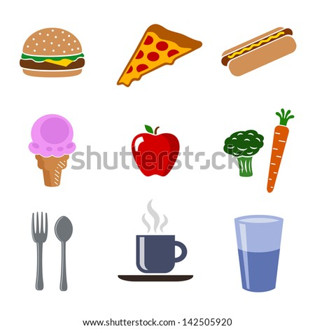 Food Icon Set in Color - stock vector