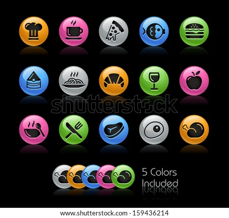 Food Icon set / The file Includes 5 color versions in different layers. - stock vector