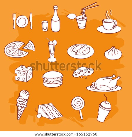 Food icon set vector background