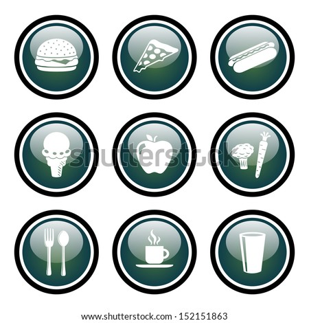 Food Icon Set.  Vector Glass Button Icon Set.