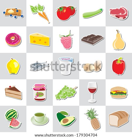 food icon stickers, various kind, vector