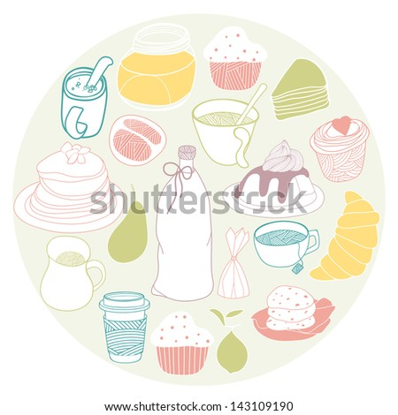 Food icons collected in the circle. Sweet vector illustration set - stock vector