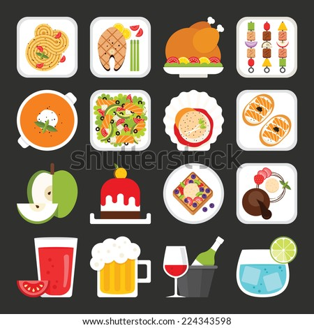 Food icons, dinner - stock vector