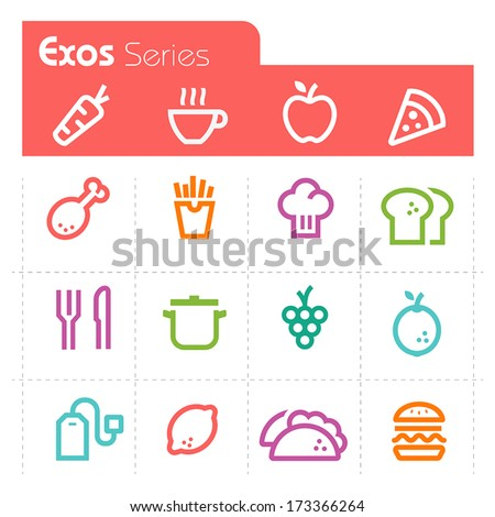 Food Icons Exos Series - stock vector