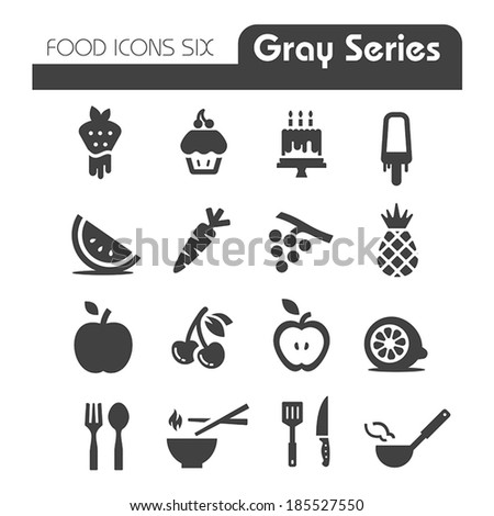 Food Icons Gray series six - stock vector