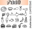 Food icons, hand draw - stock vector