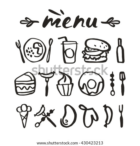 Food icons in hand-drawn style. Isolated on white background