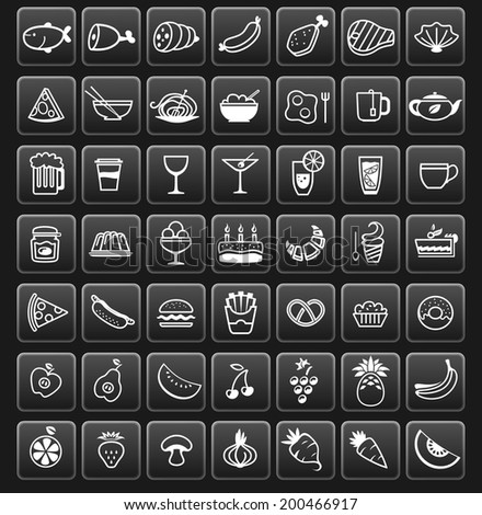food icons on black buttons, vector illustration