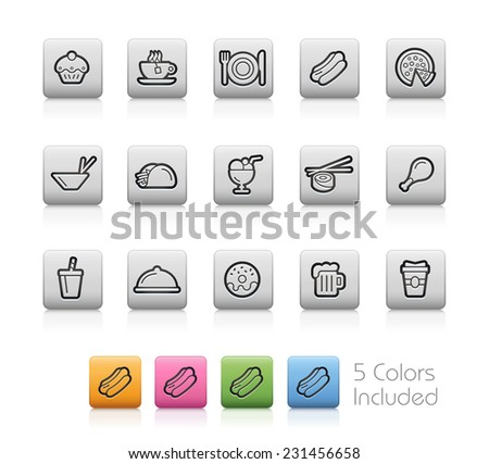 Food Icons 2 // Outline Buttons -------It includes 5 color versions for each icon in different layers ---------  - stock vector