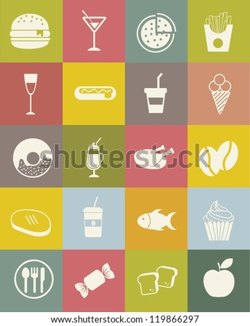 food icons over vintage background. vector illustration