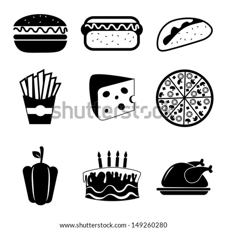 food icons over white background vector illustration  - stock vector