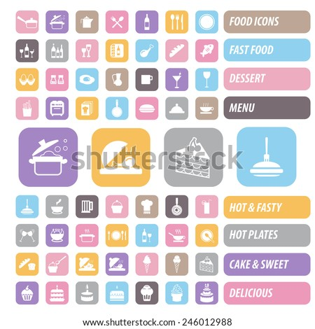Food icons set. Color Vector. - stock vector