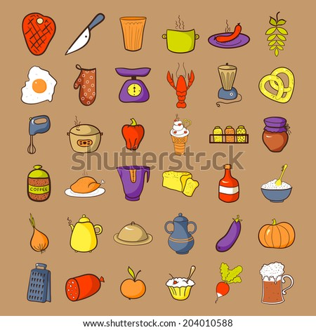 Food icons set, colorfool doodle cooking illustrations - stock vector