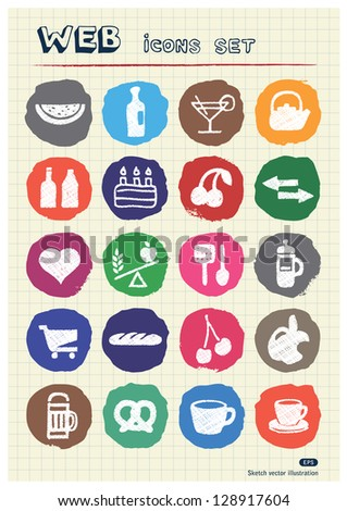 Food icons set drawn by chalk. Hand drawn vector elements pack isolated on paper - stock vector
