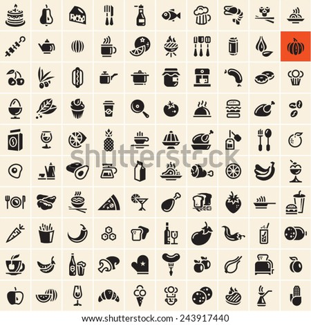 Food icons set. Food and drink icons set.  - stock vector