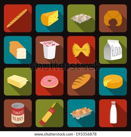 Food icons set of bread milk bottle egg box flour pack isolated vector illustration - stock vector