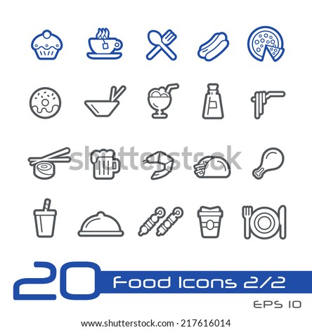 Food Icons - Set 2 of 2 // Line Series - stock vector