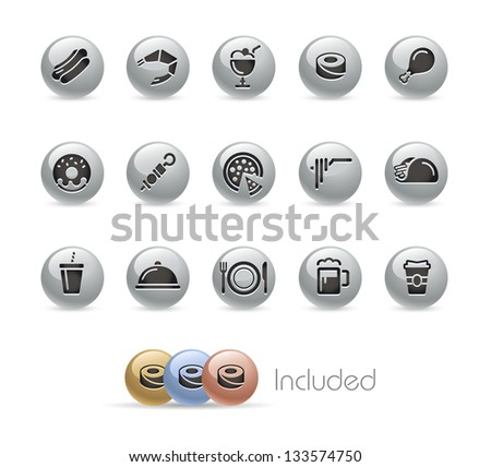 Food Icons - Set 2 of 2 // Metal Round Series --- It includes 4 color versions for each icon in different layers--- - stock vector