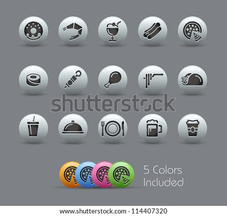 Food Icons - Set 2 of 2 // Pearly Series -------It includes 5 color versions for each icon in different layers --------- - stock vector