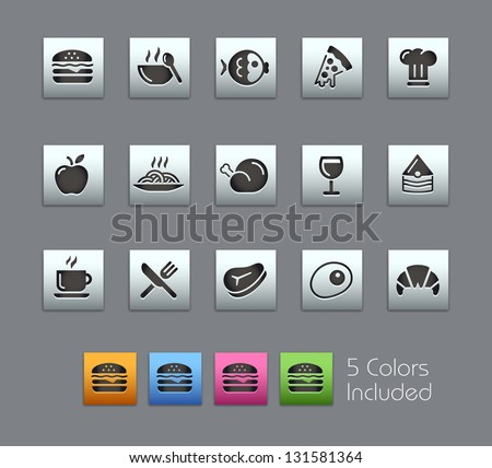 Food Icons - Set 1 of 2 // Satinbox Series -------It includes 5 color versions for each icon in different layers --------- - stock vector