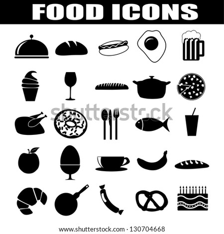 Food icons set on white background, vector illustration - stock vector