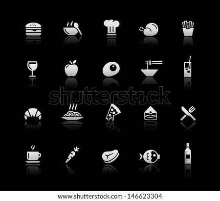 Food Icons - Set 1 // Silver Series - stock vector
