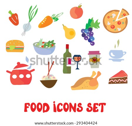 Food icons set - simple and funny design