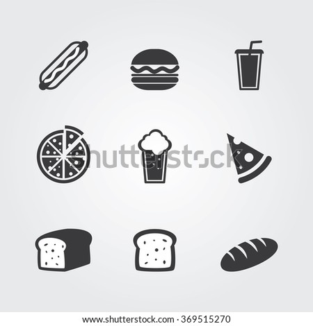 Food icons set. Template elements for web and mobile applications - stock vector