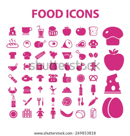 food icons set, vector - stock vector