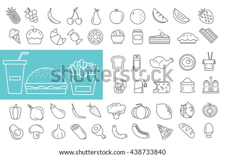 Food icons set. Vector illustration. - stock vector