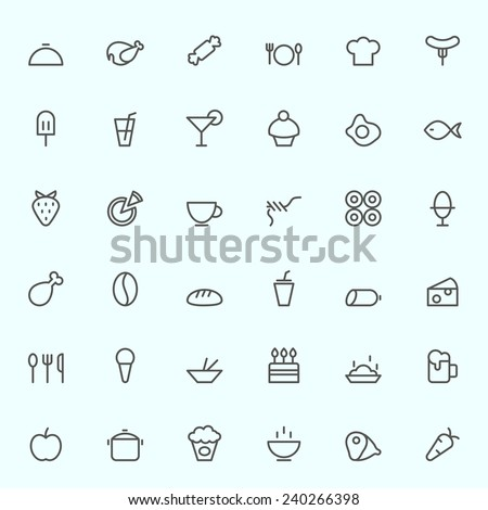 Food icons, simple and thin line design - stock vector