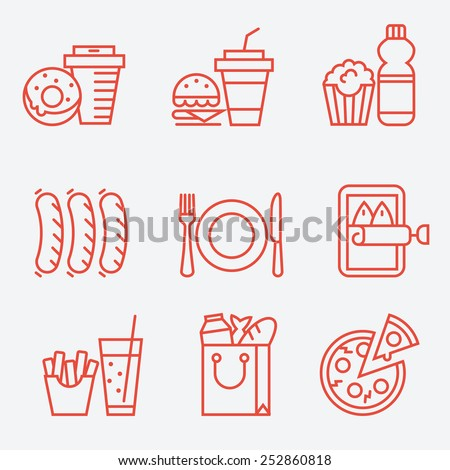 Food icons, thin line style, flat design - stock vector