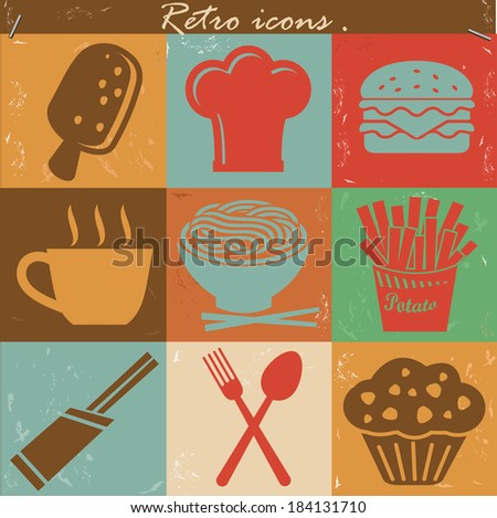 Food icons,Vintage version,vector