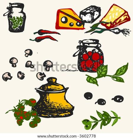 food illustration - stock vector