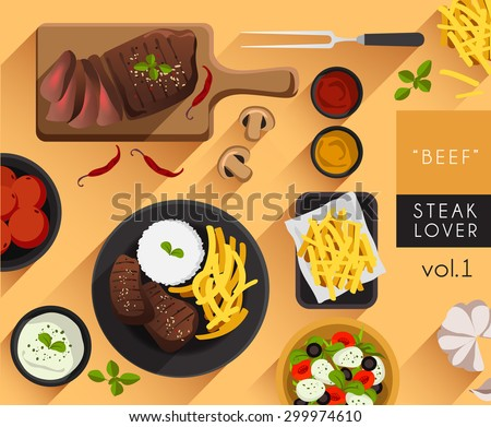 Food Illustration : Beef Steak Set : Vector Illustration - stock vector