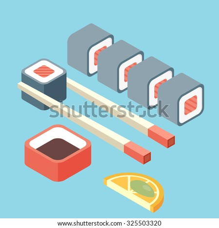 Food illustration -set of sushi roll with nori. Modern 3d flat design isometric concept. - stock vector