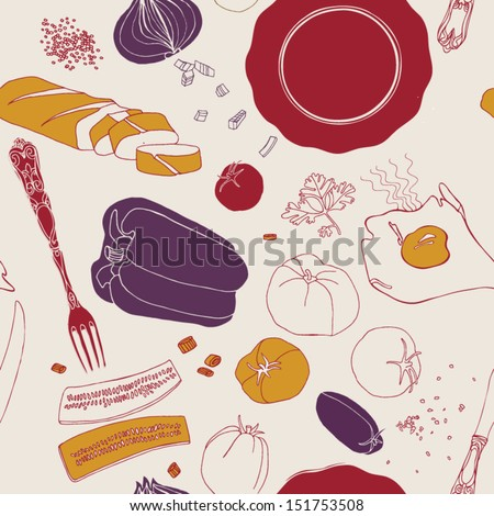 Food illustrations collection, food ingredients - stock vector