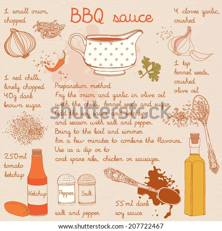 Food illustrations collection, food ingredients, barbecue sauce recipe.