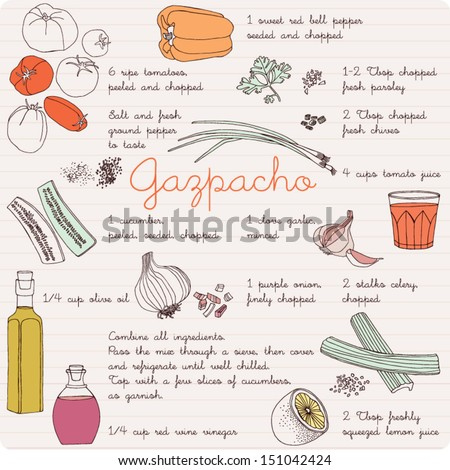 Food illustrations collection, food ingredients, gazpacho recipe. - stock vector