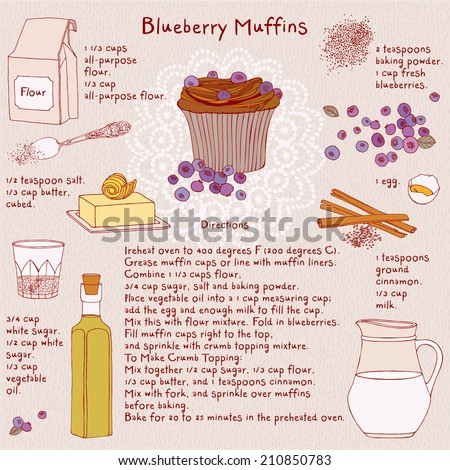 Food illustrations. Food ingredients. Blueberry muffins recipe. Vector.