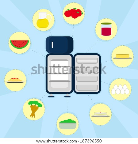 Food in the refrigerator. Empty refrigerator and various types of food around. Apple, jam, butter, eggs, cake, bowl with lettuce, carrots, pasta, watermelon, pitcher of juice. - stock vector