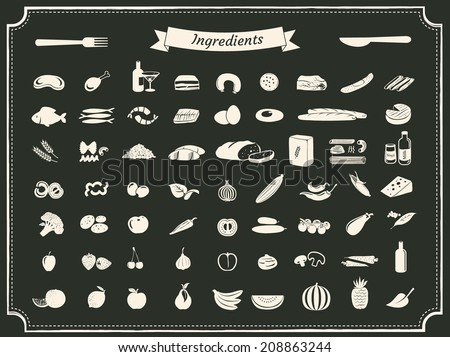 food ingredients illustrations on black - stock vector