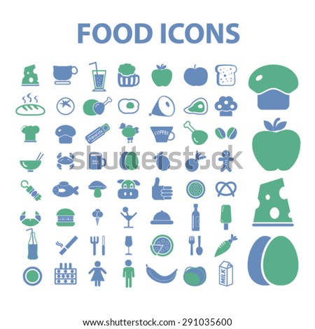 food isolated icons, signs, illustrations on white background for website, internet, mobile application, vector