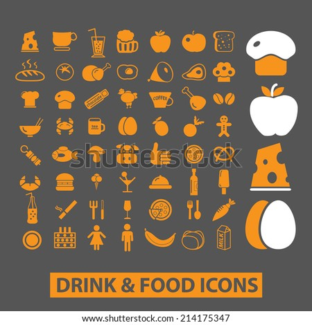 food isolated icons, signs, illustrations, silhouettes, vectors set