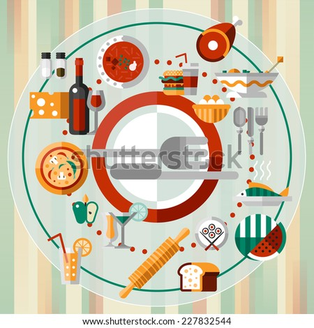 Food kitchen and cooking decorative icons set on plate with knife and fork vector illustration - stock vector