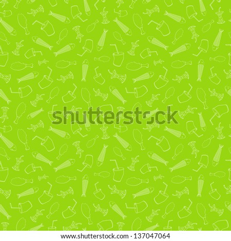 Food leavings (fish, apple, chicken, drink) on light green background - stock vector