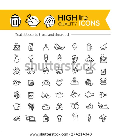 Food line icons including: meat, desserts, fruits and breakfast - stock vector