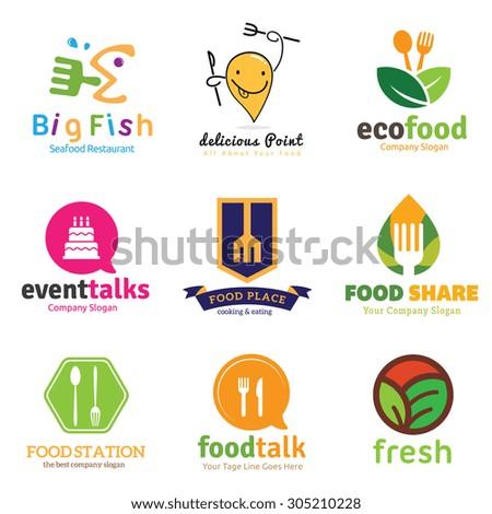 Food logo collection,food and restaurant logo,cafe,green food,organic food logo,full editable vector logo template - stock vector