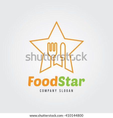 Food Logo Template. Vector Illustration. Fork and Spoon icon with star. Flat Design. food ,cooking,vector logo template. Food badge icon. - stock vector
